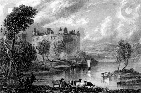Linlithgow Castle stock photo, Engraving of Linlithgow Castle, West Lothian, Scotland. Engraved by William Miller after G F Sargent in 1832. Public domain image by virtue of age. by Martin Crowdy