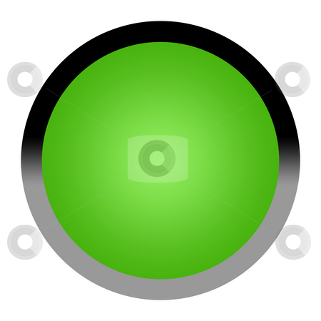 Green button stock photo, Green eco button isolated on white backgrond with copy space. by Martin Crowdy