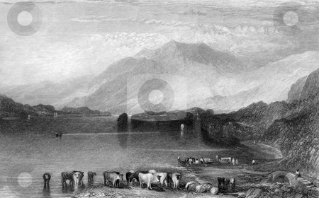 Skiddaw Mountain stock photo, Engraving of Skiddaw mountain with lake and cattle in foreground, Lake District National Park, England, Engraved by William Miller in 1833. Public domain image by virtue of age. by Martin Crowdy