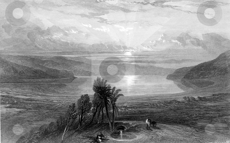 Dead Sea sunset stock photo, Seunset over Dead Sea. Engraved by William Miller after D Roberts in 1844. Public domain image by virtue of age. by Martin Crowdy