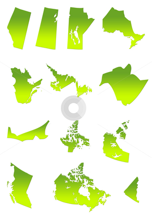 Canada and provinces map stock photo, Map of Canada and provinces in gradient green, isolated on white background. by Martin Crowdy