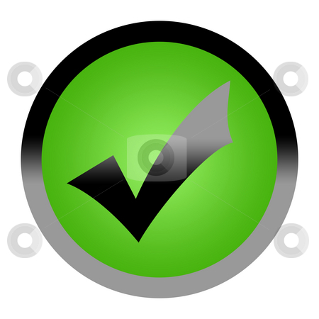 Green tick check mark button stock photo, Green tick check mark button isolated on white background with copy space. by Martin Crowdy