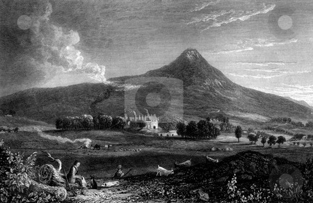 Falkland Palace stock photo, Scenic view of Falkland Palace, Fife, Scotland, with shepherd and goats in foreground, Engraved by William Miller in 1830. Public domain image by virtue of age. by Martin Crowdy
