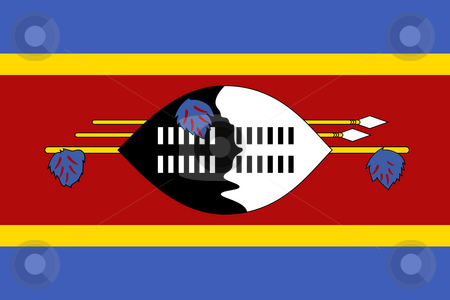 Swaziland Flag stock photo, Sovereign state flag of country of Swaziland in official colors. by Martin Crowdy
