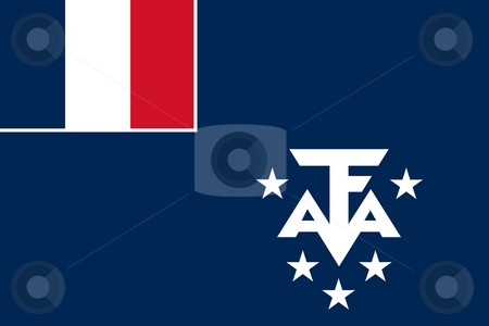 French Southern Antarctic Lands Flag stock photo, Sovereign state flag of dependent country of French Southern Antarctic Lands in official colors. by Martin Crowdy