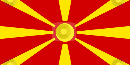 Macedonia Flag stock photo, Sovereign state flag of country of Macedonia in official colors. by Martin Crowdy
