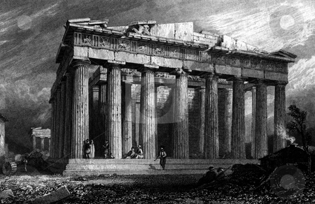 Parthenon Athens stock photo, Parthenon of Athens engraved by William Miller after H W Williams in 1829. Public domain image by virtue of age. by Martin Crowdy