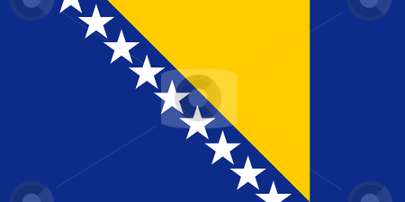Bosnia and Herzegovina flag stock photo, Sovereign state flag of country of Bosnia and Herzegovina in official colors. by Martin Crowdy