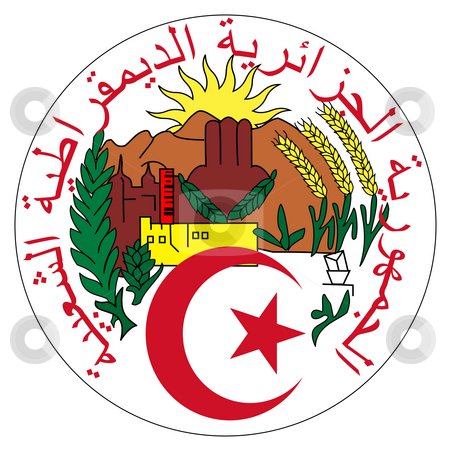 Algeria Coat of Arms stock photo, Algeria coat of arms, seal or national emblem, isolated on white background. by Martin Crowdy
