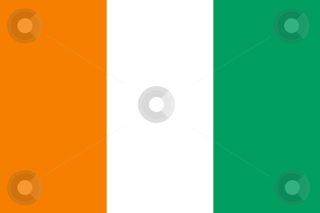 Ivory Coast flag stock photo, Sovereign state flag of country of Ivory Coast in official colors. by Martin Crowdy