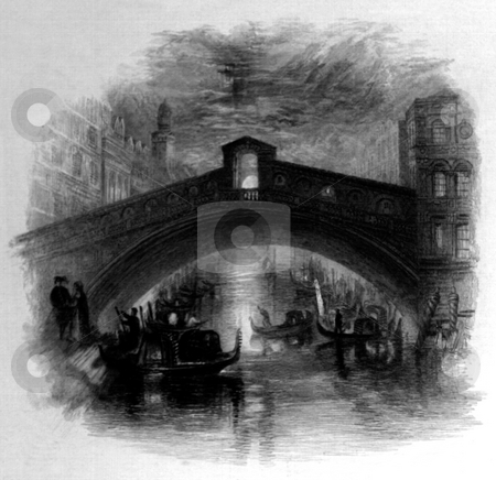Rialto bridge at moonlight stock photo, Rialto bridge at moonlight, Venice, Veneto, Italy, Engraved by William Miller after J M W Turner, published in Poems, Samuel Rogers, London, 1834. Public domain image by virtue of age. by Martin Crowdy