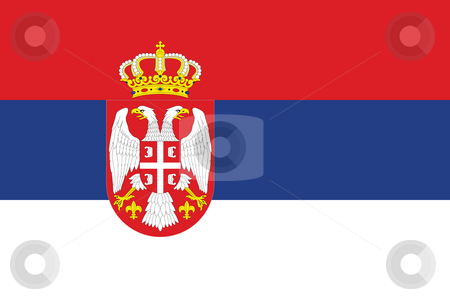 Serbia Flag stock photo, Sovereign state flag of country of Serbia in official colors. by Martin Crowdy