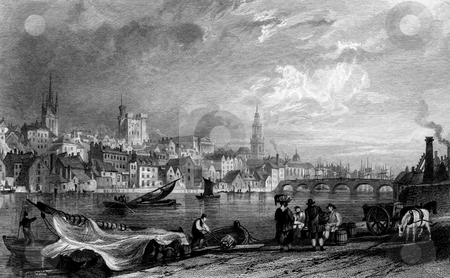 Newcastle-Upon-Tyne stock photo, Newcastle-Upon-Tyne city viewed from New Chatham, Gateshead, England. Engraved by William Miller in 1832, Public domain image by virtue of age. by Martin Crowdy