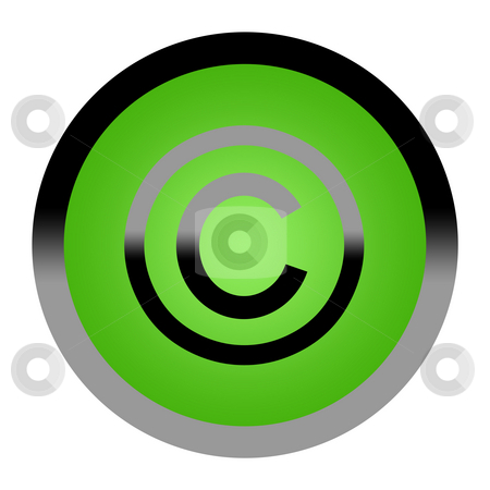 Copyright button stock photo, Green eco copyright button isolated on white background with copy space. by Martin Crowdy