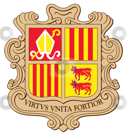 Andorra Coat of Arms stock photo, Andorra coat of arms, seal or national emblem, isolated on white background. by Martin Crowdy