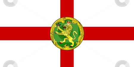Alderney Flag stock photo, Sovereign state flag of dependent country of Alderney in official colors. by Martin Crowdy