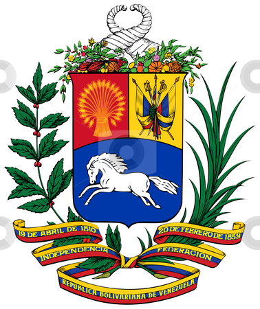 Venezuela Coat of Arms stock photo, Venezuela coat of arms, seal or national emblem, isolated on white background. by Martin Crowdy