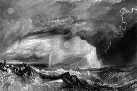 Shipwrecked sailors in storm stock photo, Shipwrecked sailors in story sea with lightning, Bass Rock island in background, Firth of Forth, Scotland, Engraved by William Miller in 1825, public domain image by virtue of age. by Martin Crowdy