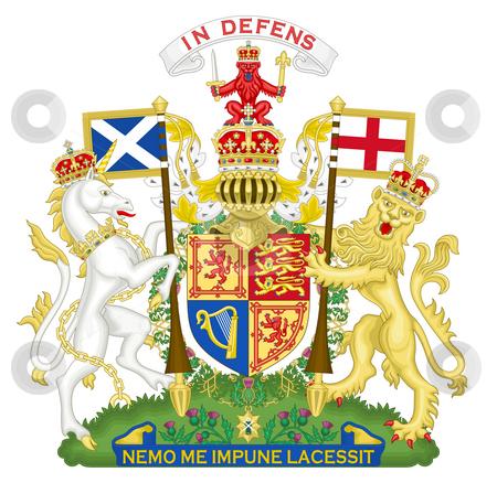 United Kingdom Coat of Arms stock photo, United Kingdom and Scotland coat of arms, seal or national emblem, isolated on white background. by Martin Crowdy