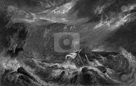 Shipwrecked boat in stormy sea stock photo, Shipwrecked boat and cliffs in storm sea. Engraved by William Miller in 1832, public domain image by virtue of age. by Martin Crowdy