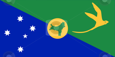 Christmas Islands Flag stock photo, Sovereign state flag of dependent country of Christmas Islands in official colors. by Martin Crowdy