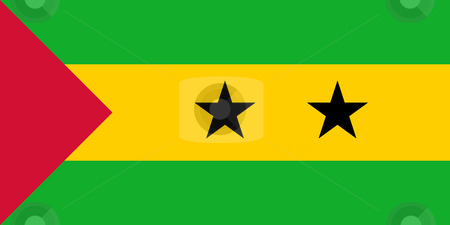 Sao Tome and Principe Flag stock photo, Sovereign state flag of country of Sao Tome and Principe in official colors. by Martin Crowdy