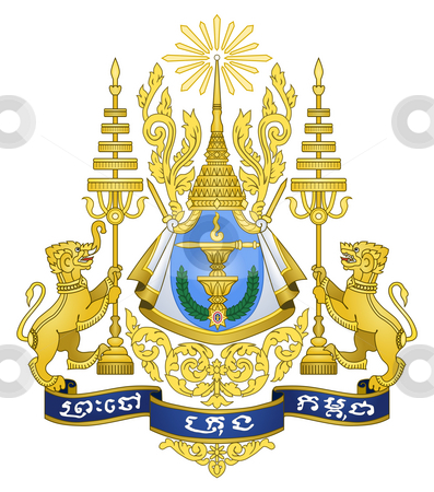 Cambodia Coat of Arms stock photo, Cambodia coat of arms, seal or national emblem, isolated on white background. by Martin Crowdy