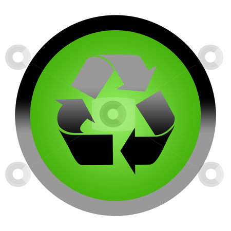 Green recycling button stock photo, Green eco recycling button isolated on white backgrond with copy space. by Martin Crowdy