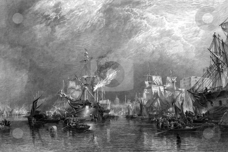 Port of London stock photo, Ships on river Thames in port of London, England. Engraved by William Miller in 1865. Public domain image by virtue of age. by Martin Crowdy
