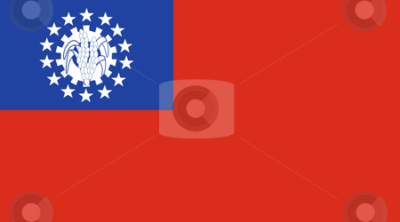 Myanmar flag stock photo, Sovereign state flag of country of Myanmar in official colors. by Martin Crowdy