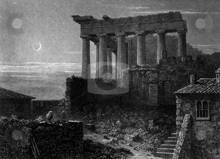 Temple of Minerva stock photo, Temple of Minerva in Athens Acropolis, Ancient Greece. Engraved by William Miller in 1829, public domain image by virtue of age. by Martin Crowdy