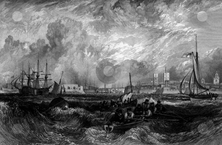 Portsmouth harbour and storm stock photo, Ships at sea in storm with Portsmouth harbor in background, Hampshire, England, Engraved by William Miller William Miller after J M W Turner, 1826. Public domain image by virtue of age. by Martin Crowdy