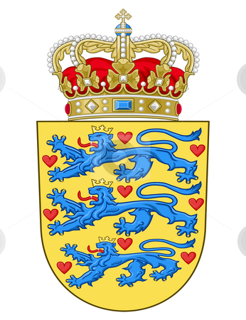 Denmark Coat of Arms stock photo, Denmark coat of arms, seal or national emblem, isolated on white background. by Martin Crowdy