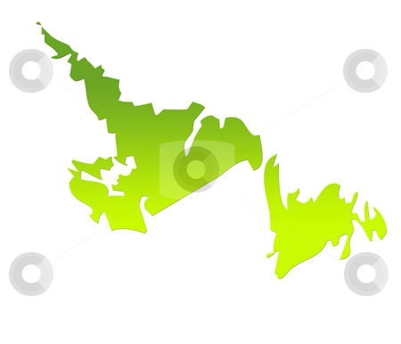 Newfoundland map stock photo, Newfoundland province of Canada map in gradient green, isolated on white background. by Martin Crowdy