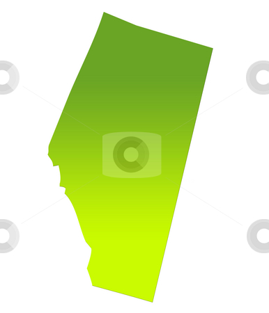 Alberta map stock photo, Alberta province of Canada map in gradient green, isolated on white background. by Martin Crowdy