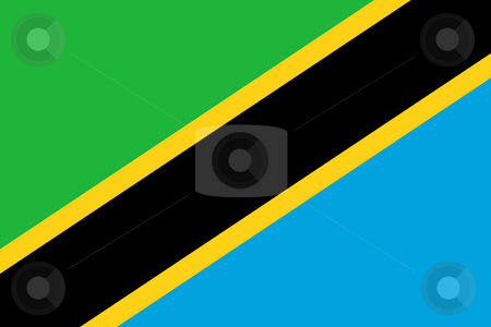 Tanzania Flag stock photo, Sovereign state flag of country of Tanzania in official colors. by Martin Crowdy