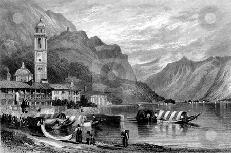 Lake Como stock photo, Scenic view of Lake Como with people, boats and bell tower in foreground, Lombard, Italy. Engraved by William Miller in 1830, public domain image by virtue of age. by Martin Crowdy