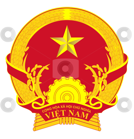 Vietnam Coat of Arms stock photo, Vietnam coat of arms, seal or national emblem, isolated on white background. by Martin Crowdy