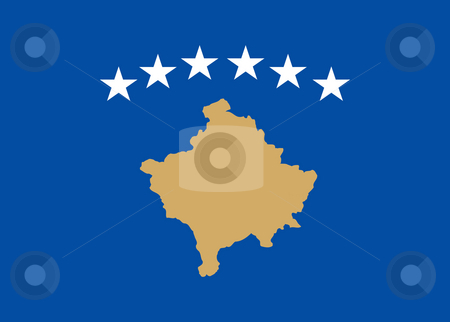 Kosovo Flag stock photo, Sovereign state flag of country of Kosovo in official colors. by Martin Crowdy