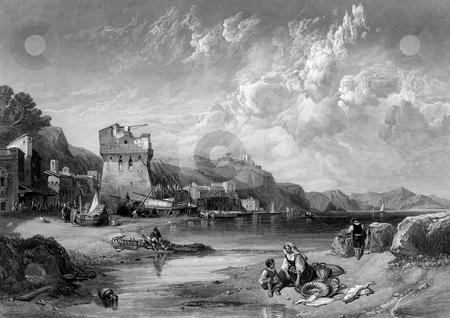 Vietri Sul Mare stock photo, Wood engraving of Vietri Sul Mare, Salerno, Campania  Italy. Engraved by William Miller after Clarkson Stanfield, published in The Art Journal, New Series Volume V, 1859. James S. Virtue, London 1859. Public domain image by virtue of age. by Martin Crowdy