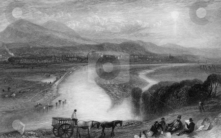 Melrose Abbey and River Tweed stock photo, Engraving of Melrose Abbey on banks of river Tweed, Scotland, Engraved by William Miller in 1833. Public domain image by virtue of age. by Martin Crowdy