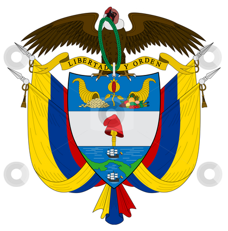 Colombia Coat of Arms stock photo, Colombia, coat of arms, seal or national emblem, isolated on white background. by Martin Crowdy