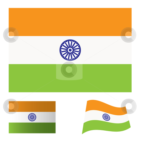 India flag set stock vector clipart, Illustrated collection of flag icon set for india by Michael Travers