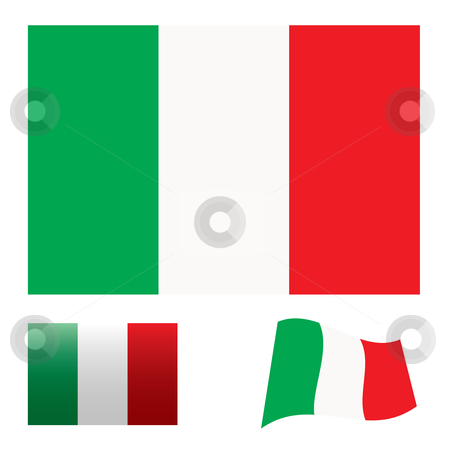 Italy flag set stock vector clipart, Illustrated collection of flag icon set for italy by Michael Travers
