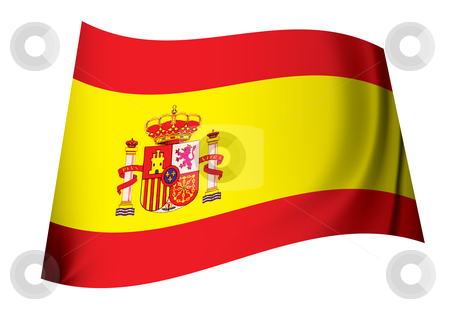 Spanish coat of arms flag stock vector clipart, Spanish coat of arms flag with red and yellow stripes by Michael Travers