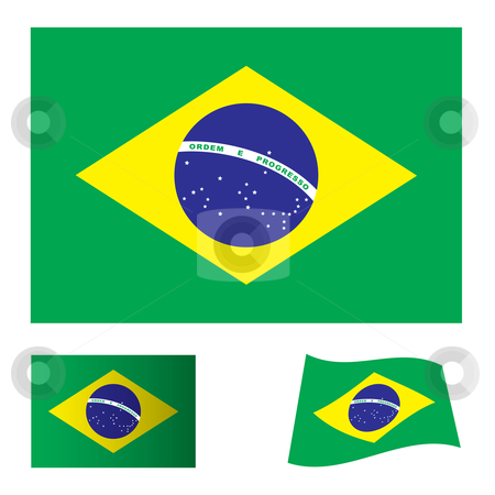 Brazil flag stock vector clipart, Green and yellow brazil flag icon symbol as part of a set by Michael Travers