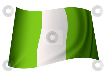 Nigerian flag stock vector clipart, Green and white nigeria flag with creases in icon by Michael Travers