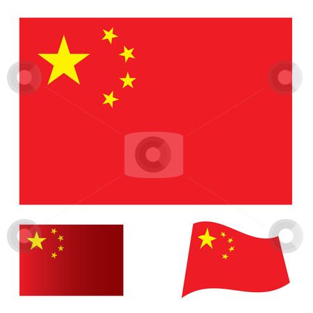 China flag set stock vector clipart, Illustrated collection of flag icon set for china by Michael Travers