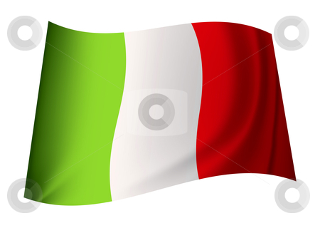 Italy flag stock vector clipart, Green white and red italy flag icon with ripples blowing in the wind by Michael Travers