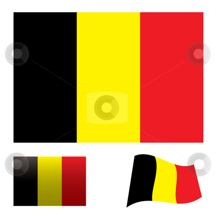 Belgium flag set stock vector clipart, Illustrated collection of flag icon set for belgium by Michael Travers